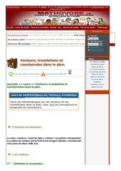 www mathovore fr vecteurs translations et coordonnees dans le plan cours maths 50