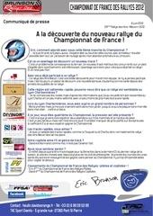 communique presse eric brunson rallye des vins m con a la decouverte du nouveau rallye du championnat de france