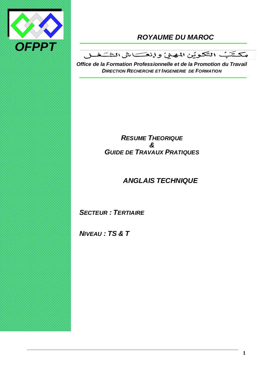 Telecharger Module Anglais Technique Ofppt Pdf Royaume Du