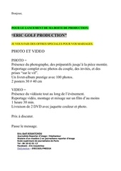 eric golf production