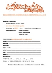 formulaire carte adherent 2012