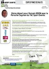 communique de presse tac sport events 2eme depart pour romain br