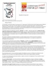 courrier commun saesdis13 cgt sdis13 a l attention des elus du casdis13 22 juin 2012