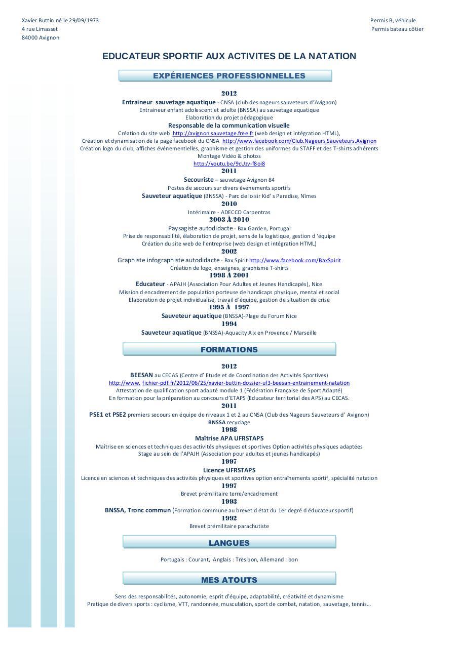 cv xavier buttin educateur sportif  beesan  pdf par xavier buttin