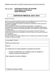 certificat medical 2012 2013