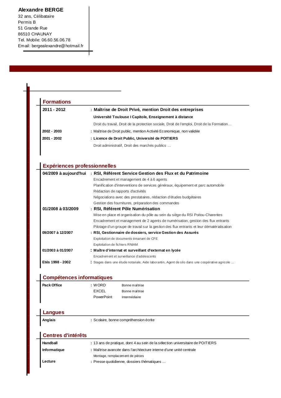 cv sans titre par bergea - juriste droit social pdf