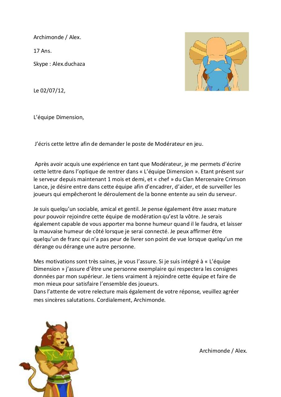 lettre de motivation archimonde par benjamin