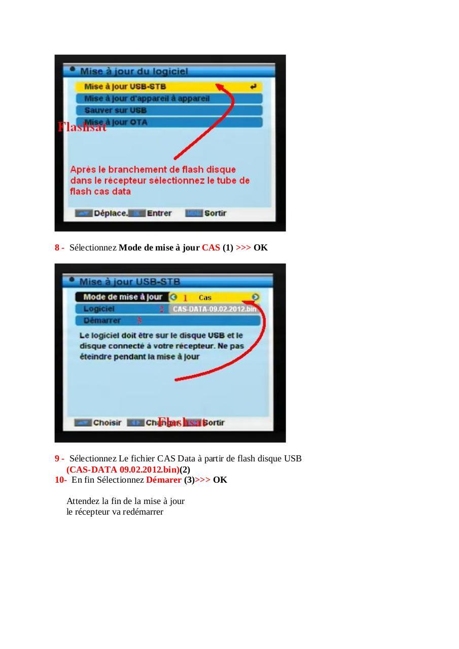 comment mettre  u00e0 jour du cas data au r u00e9cepteurs samsat avec flash disque usb