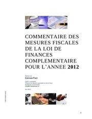 commentaire de loi de finances complementaire 2012 choyakh faez 1