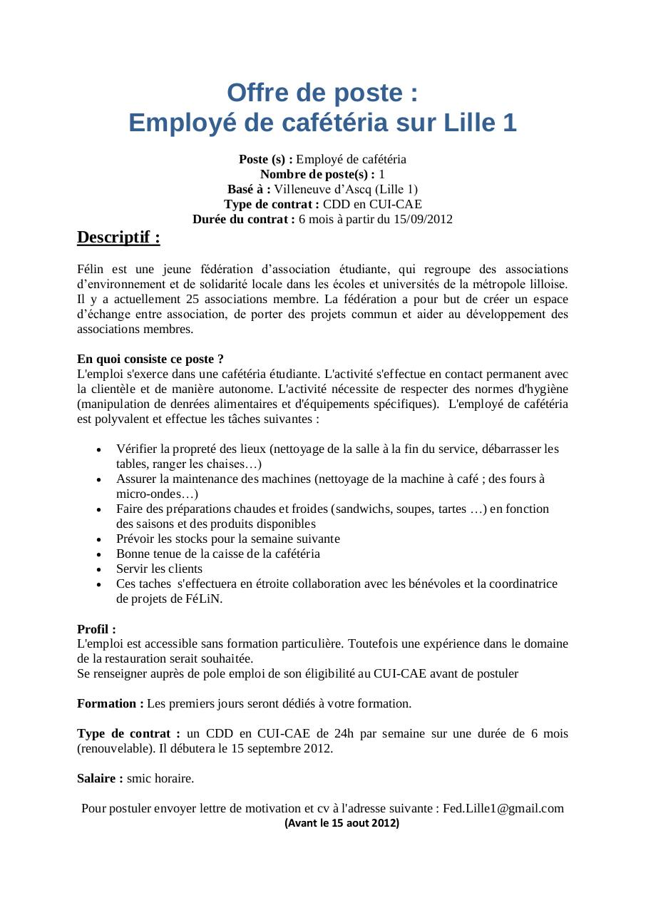 Lettre de motivation employ polyvalent de restauration - Salon job d ete lille ...