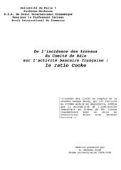 ayad ratio cooke solvabilite bale banques francaises