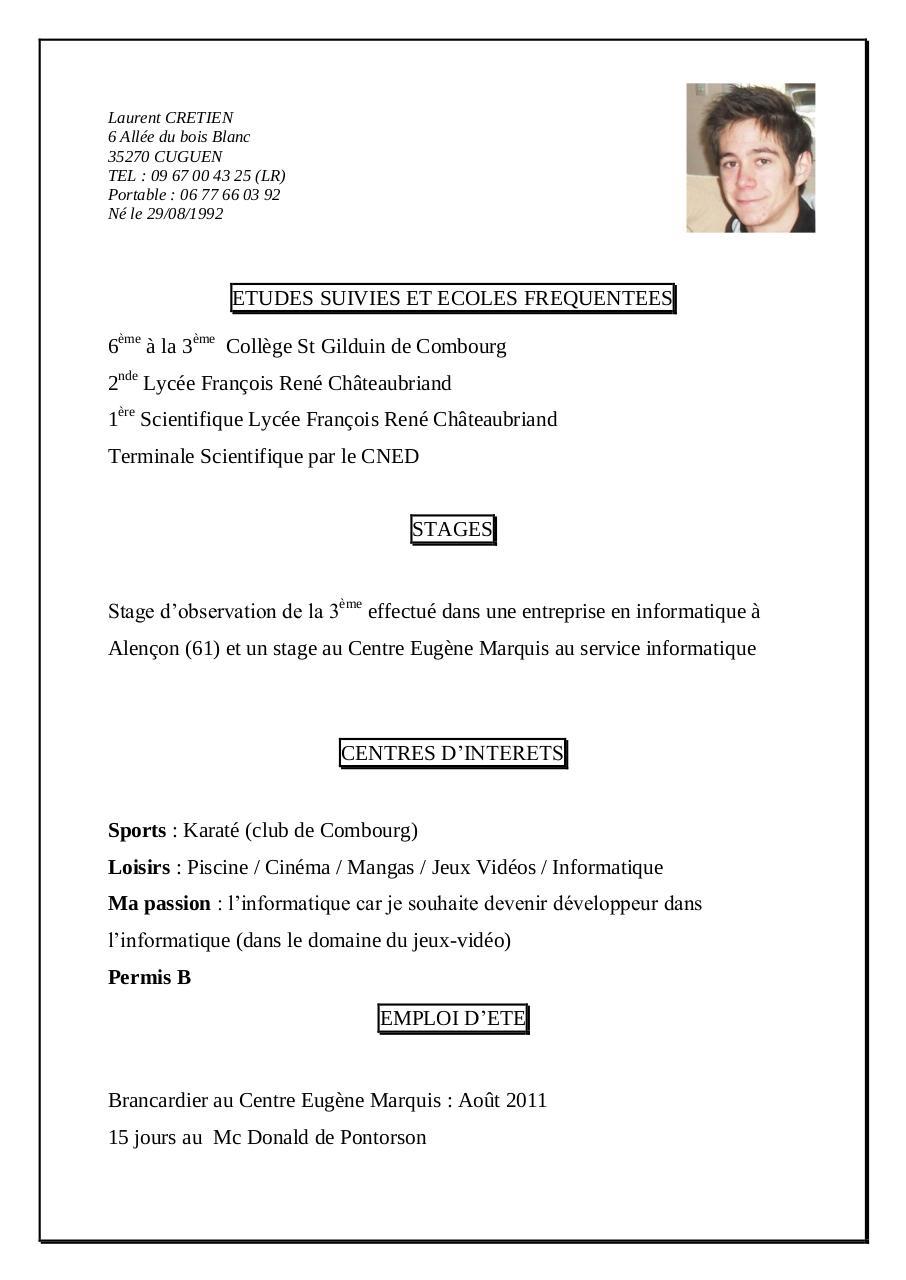 laurent cretien par lydie - cv pdf - page 1  1