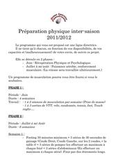 preparation physique intersaison 2011
