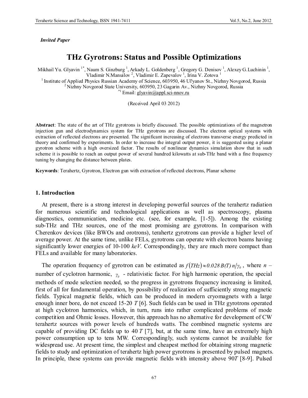 Aperçu du document Gyrotrons THz  Optimisations d'état et possible.pdf - page 1/11