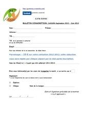 coupon d inscript saison 2012 2013