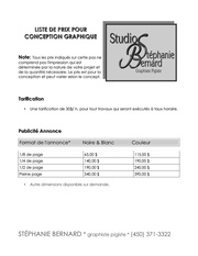 liste de prix studio sb