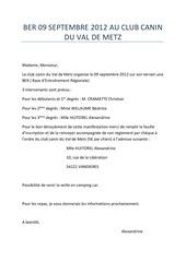 ber 09 septembre 2012 au club canin du val de metz