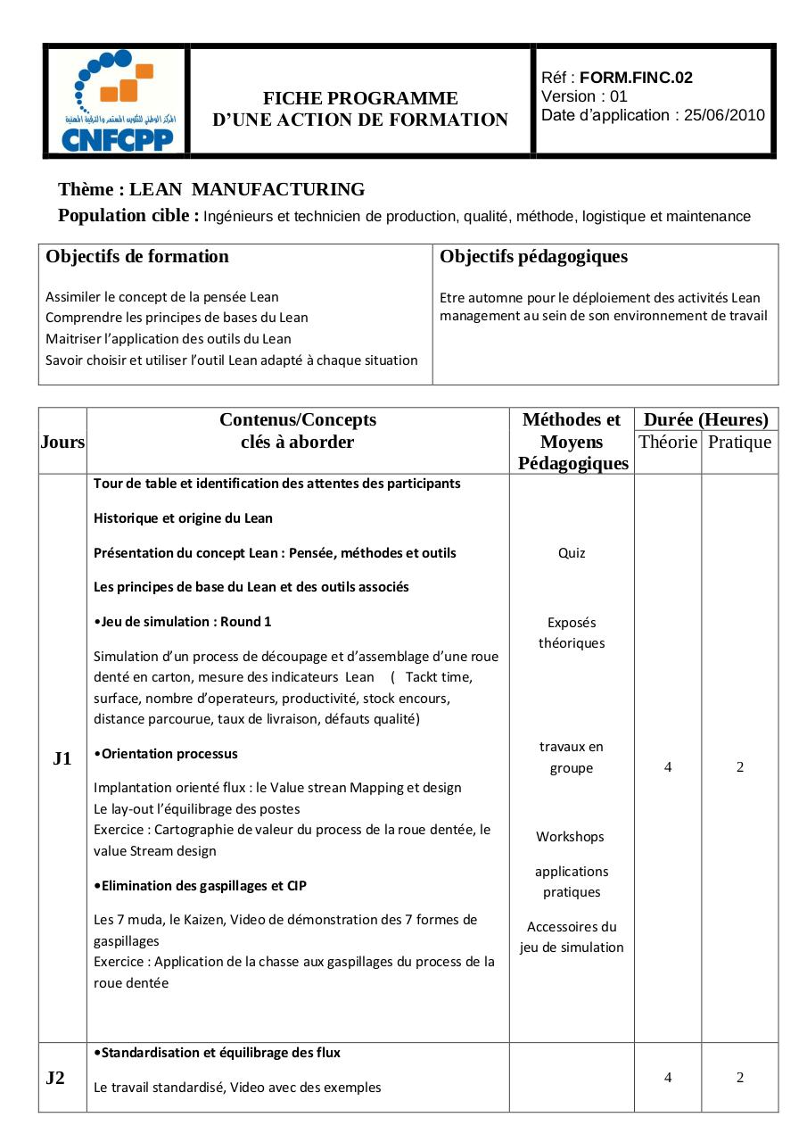 Programme Lean  Manufacturing.pdf - page 1/3