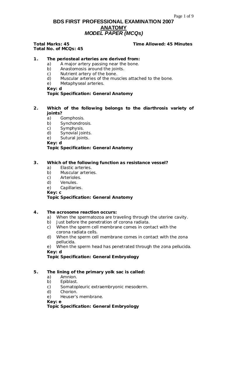 Mcqsmodelpaperofanatomybydr111iqc Par Webdev Anatomy