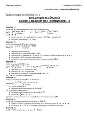 l2 seg statistique mathematique stat ii serie stat2 corrigee n 1 enonces variable aleatoire multidimensionnelle