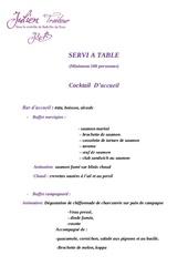 formule servi a table 85