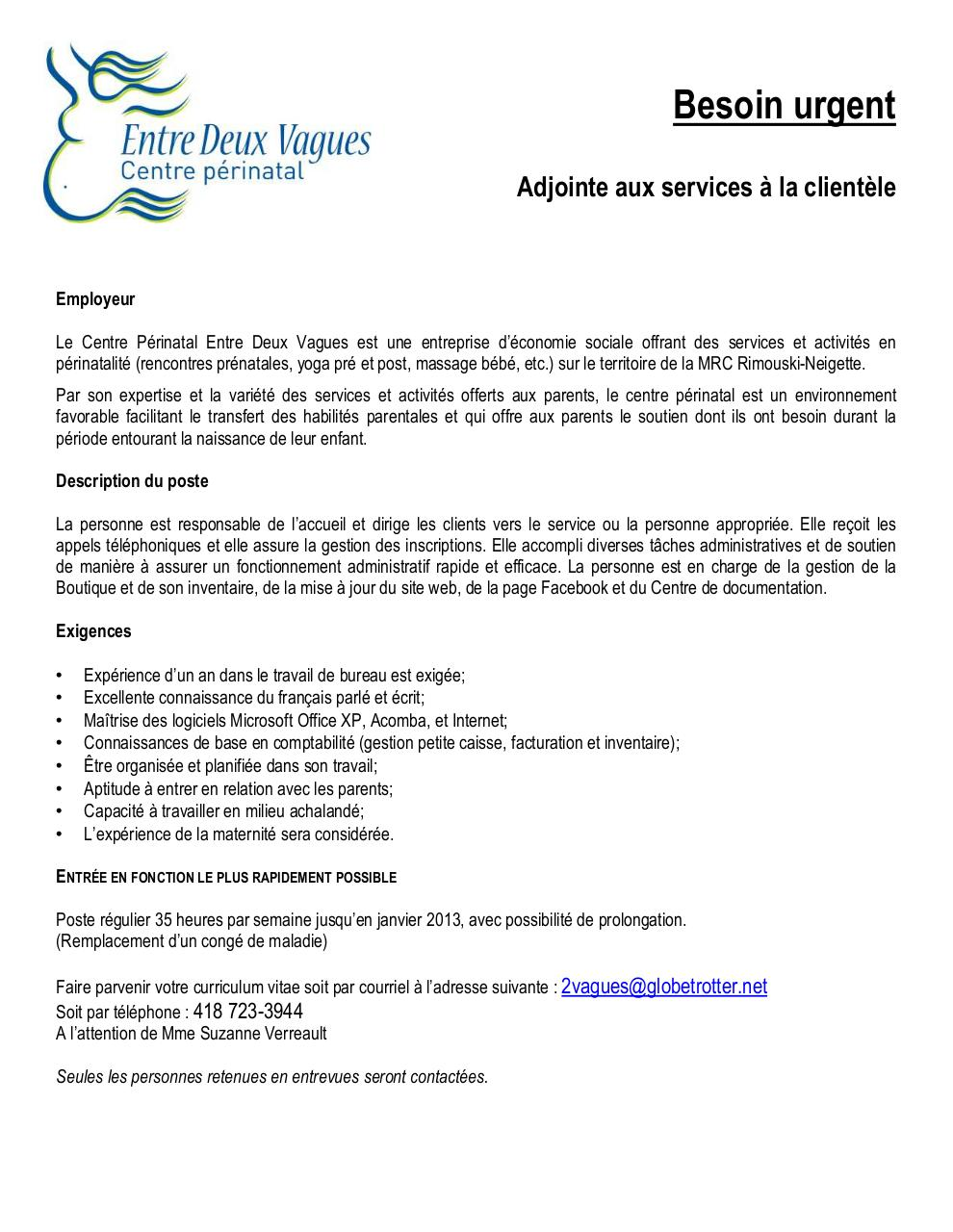 Affichage candidature par user poste d 39 adjointe service for Domon service a la clientele