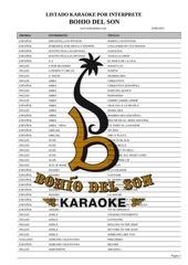 listado karaoke por interprete agosto 2012