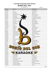 listado karaoke por titulo cancion agosto 2012