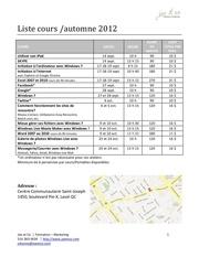 liste cours areq automne 2012