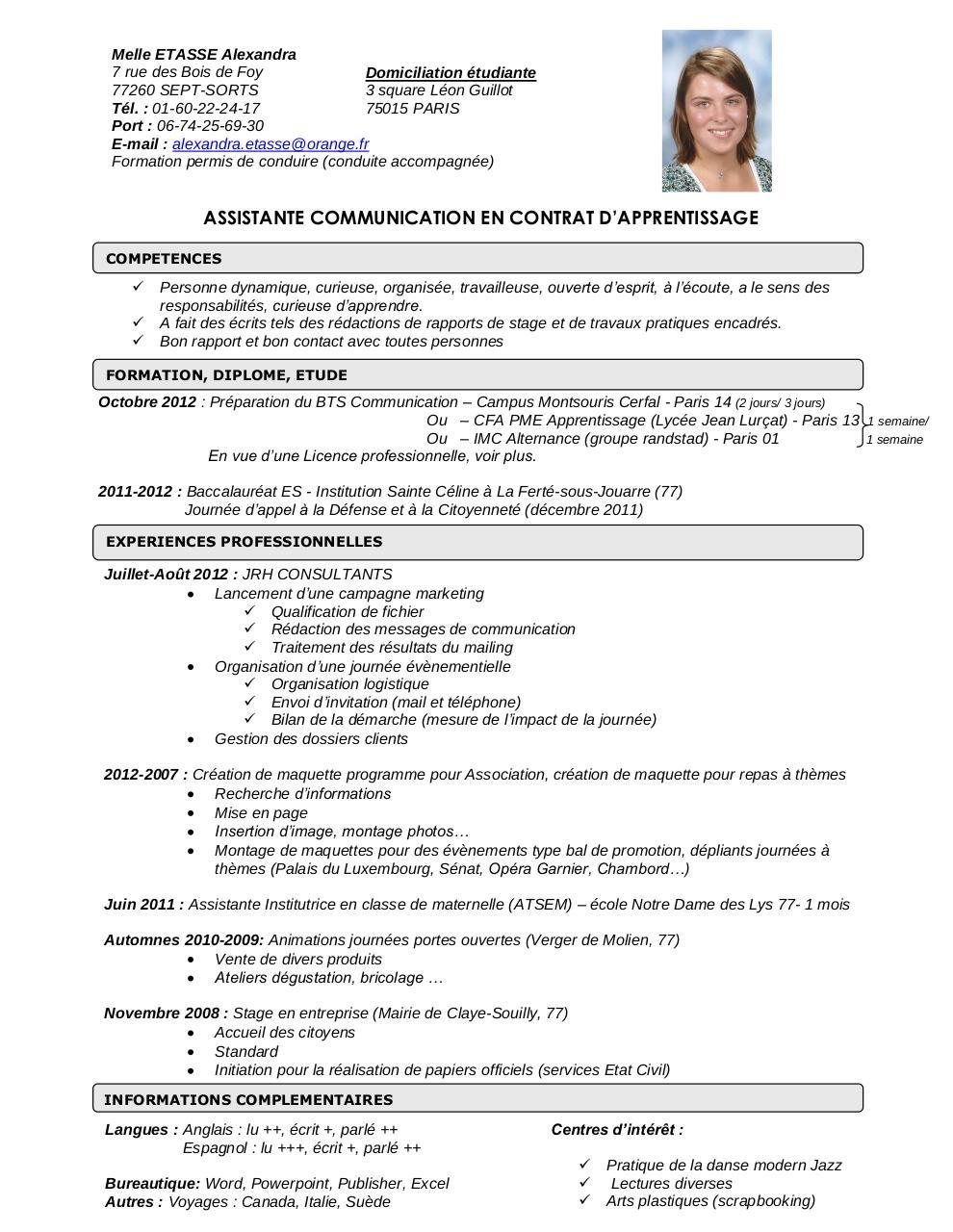 resume format  mod u00e8le curriculum vitae luxembourg
