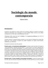 sociologie du monde contemporain