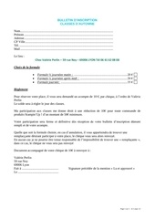 bulletin dinscription classe automne