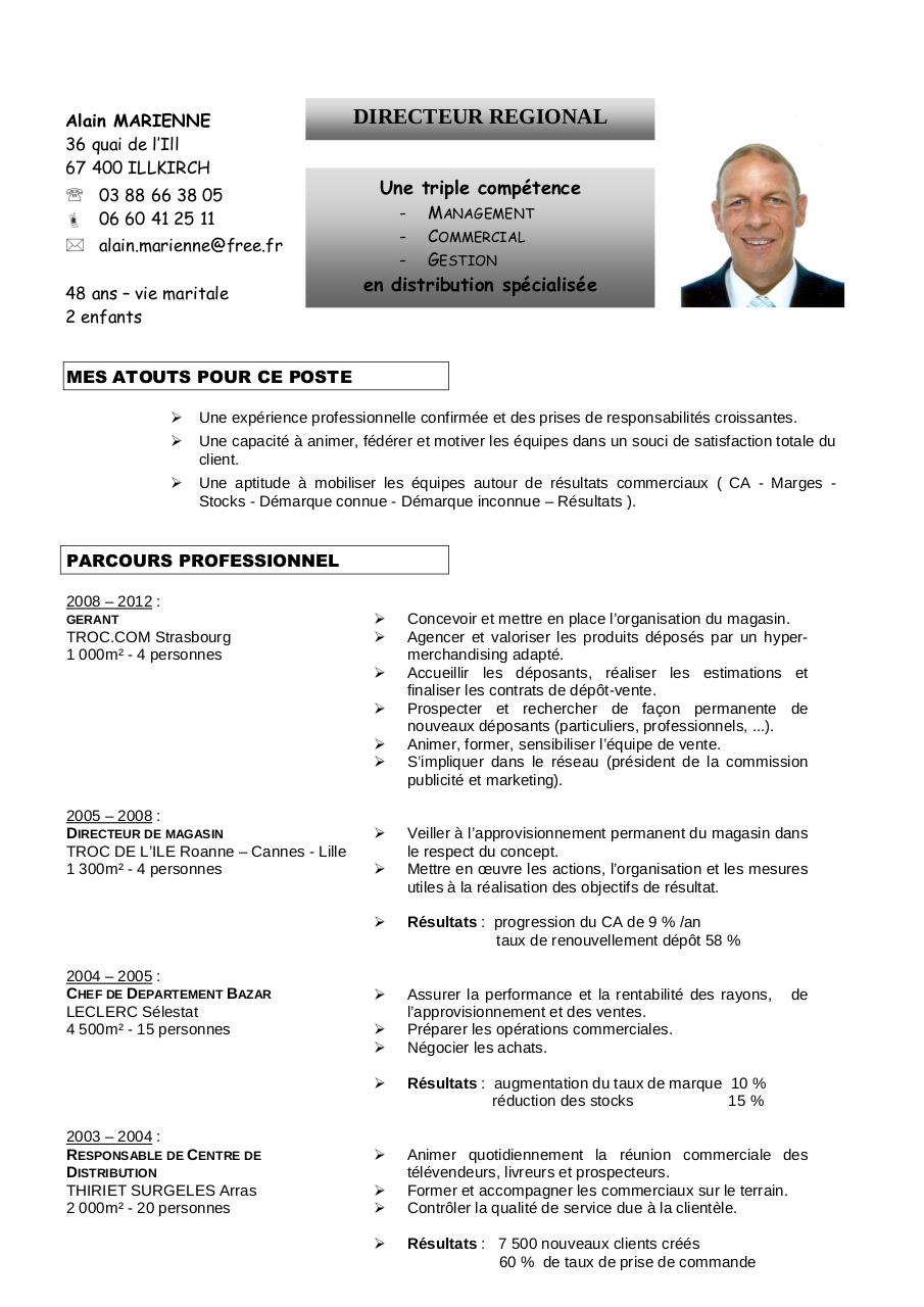 exemple cv responsable magasin