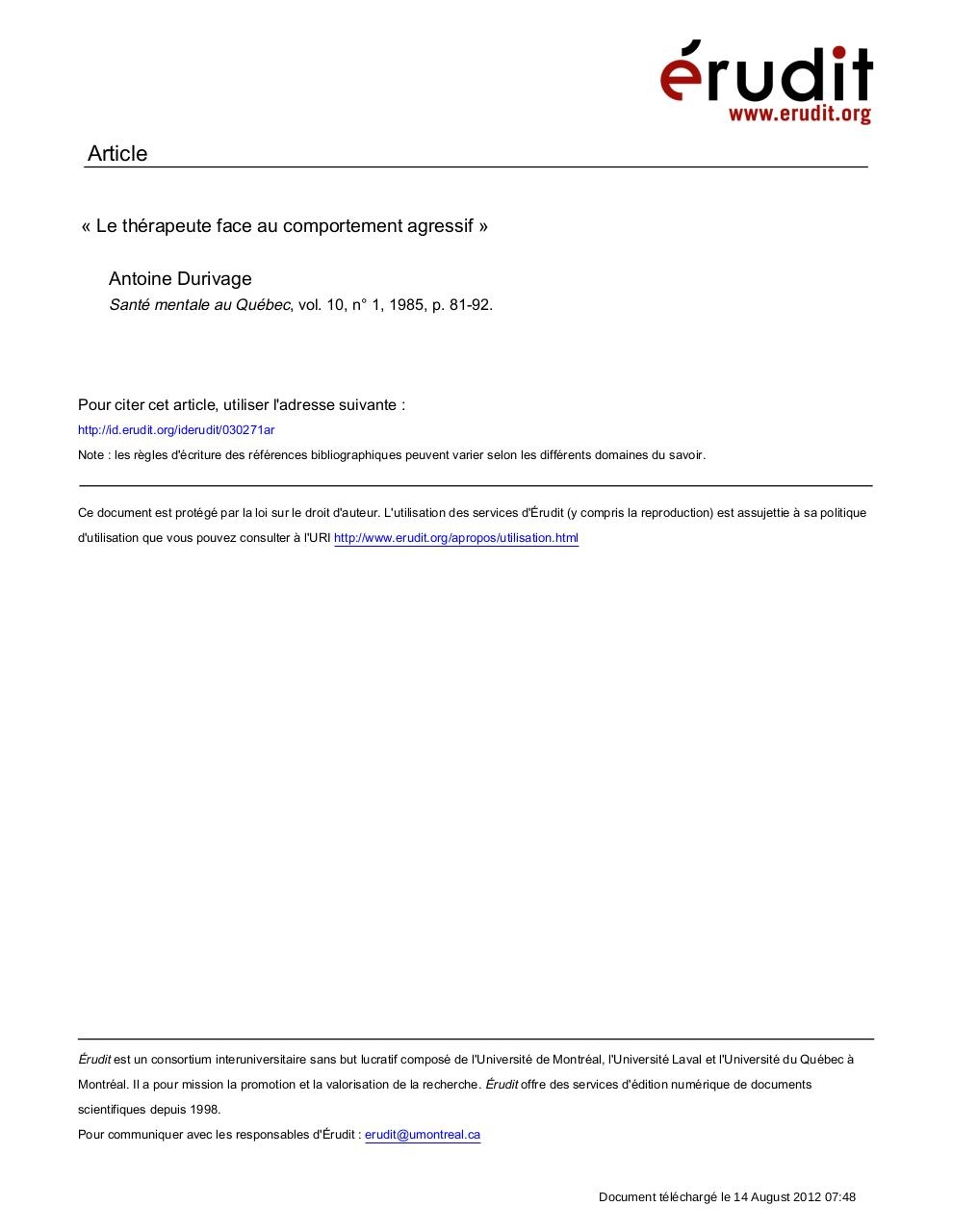Aperçu du document Le thérapeute face au comportement agressif.pdf - page 1/13