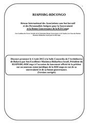 discours prononce le 4 aout 2012 a la salle concordia de bukavu a l occasion du lancement officiel de la petition du riapisbg version corrigee 1