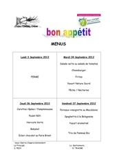 menu du 04 sept au 07 sept 2012
