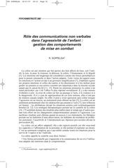 role des communications non verbales dans l agressivite de l enf