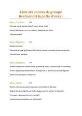 liste des menus de groupe 1
