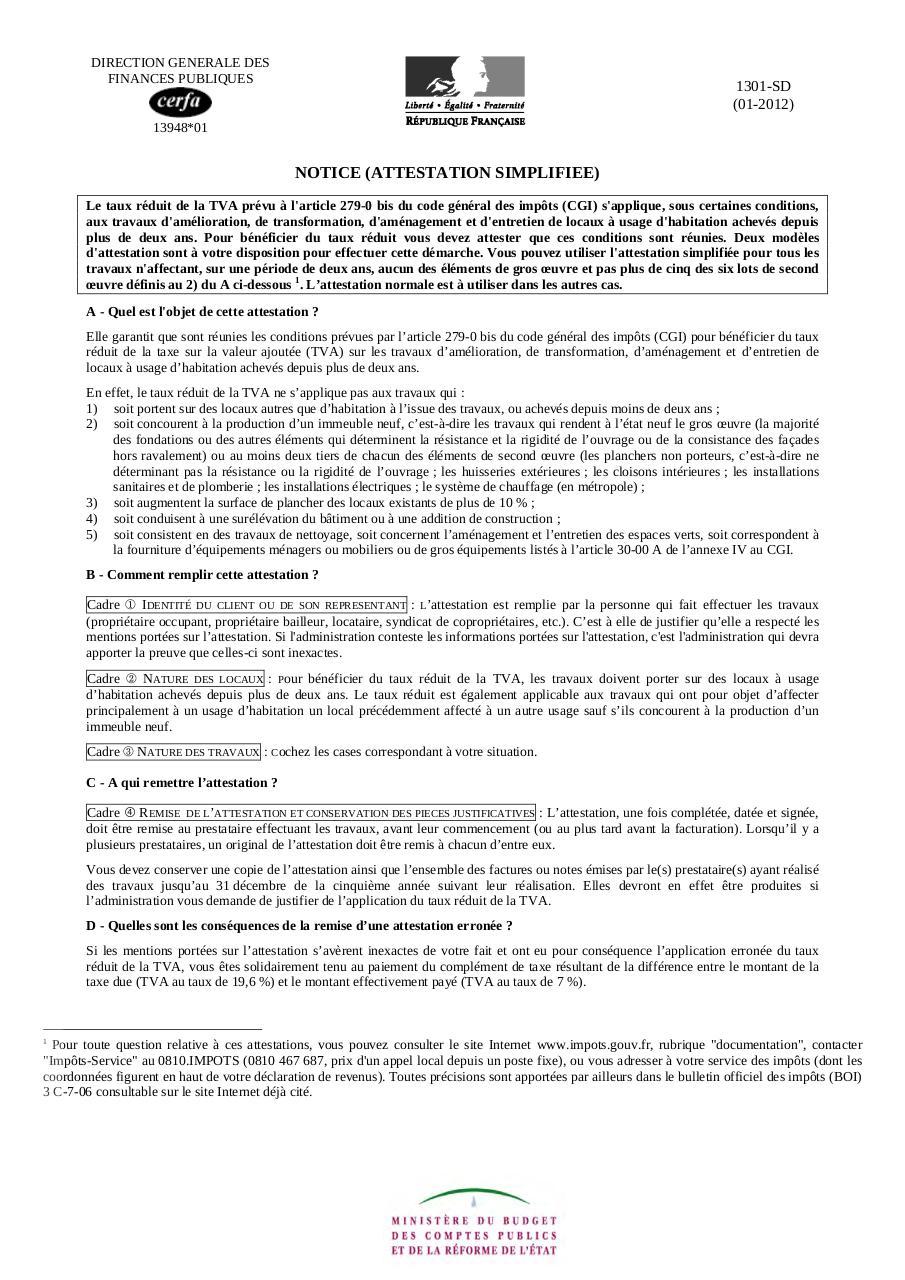 13948 TÉLÉCHARGER CERFA LATTESTATION TVA SIMPLIFIÉE FORMULAIRE