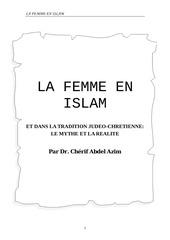 la femme en islam et dans la tradition judeo chretienne