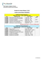 emploi du temps m1 fle 2012 2013