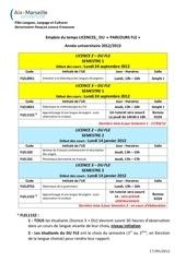 emplois du temps licences du parcours fle 2012 2013
