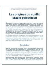 les origines du conflit israelo palestinien 1