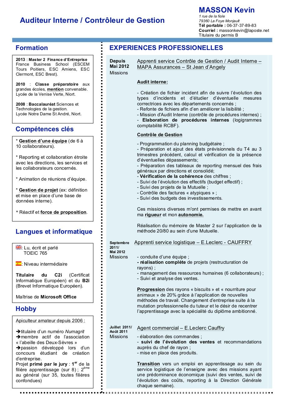 cv doc par kevin masson - cv audit interne contr u00f4le de gestion pdf
