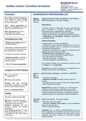 cv audit interne controle de gestion