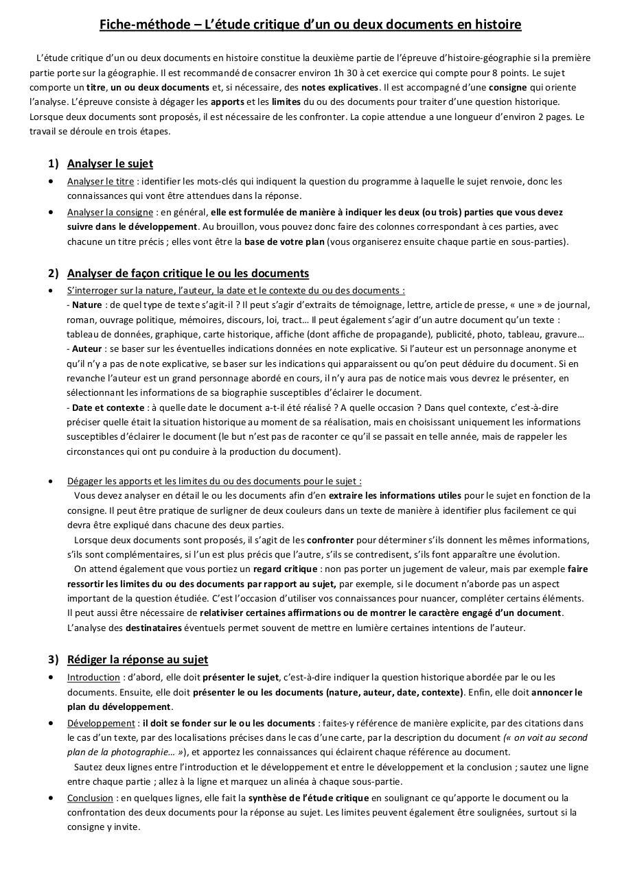 fiche m u00e9thode  u00e9tude critique de docs histoire par user