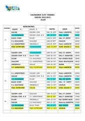 calendrier elite femmes aller saison 2013