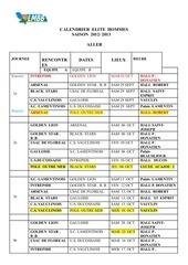 calendrier elite hommes aller 2013