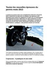 toutes les nouvelles epreuves du permis moto 2013