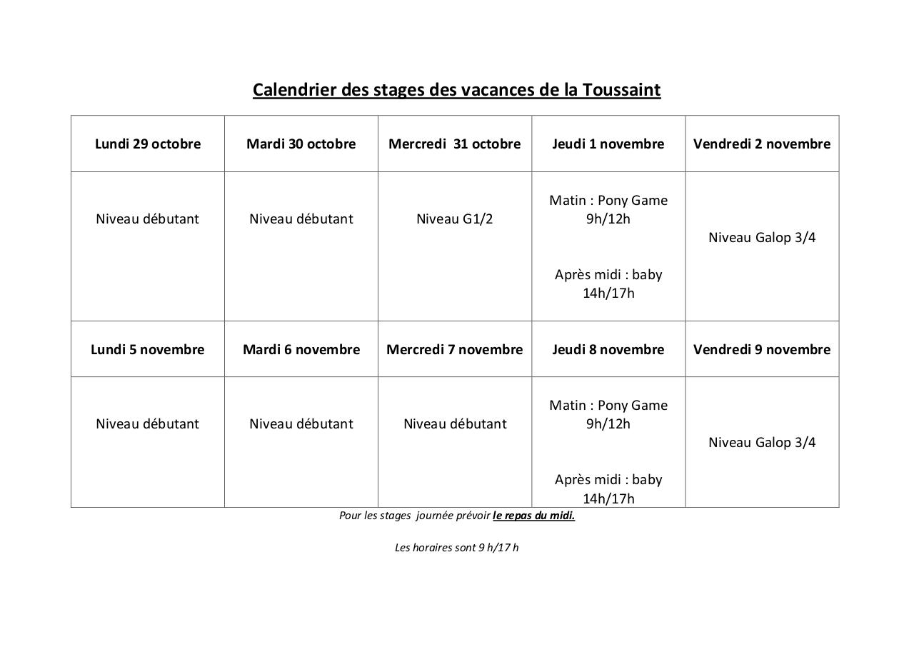 Aperçu du document calendrier stages toussaint.pdf - page 1/1